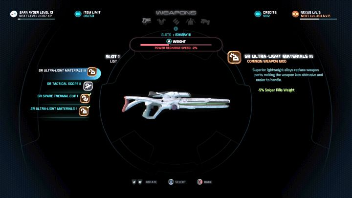 Equipment modification screen. - How to modify weapons and armors in Mass Effect: Andromeda? - FAQ - Frequently asked questions - Mass Effect: Andromeda Game Guide