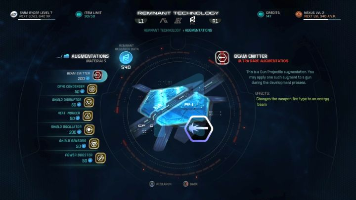 Acquired Research Data can be used to research new weapons, armors and Augments. - How to get Research Data in Mass Effect: Andromeda? - FAQ - Frequently asked questions - Mass Effect: Andromeda Game Guide