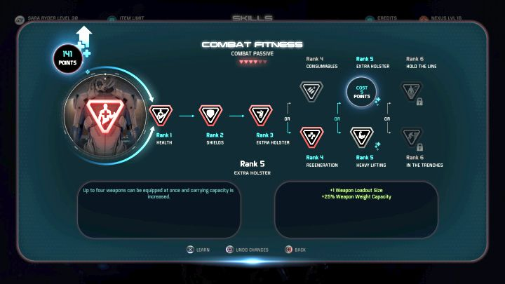 Upgrading this ability will allow you to carry more weapons. - How to increase the amount of carried weapons in Mass Effect: Andromeda? - FAQ - Frequently asked questions - Mass Effect: Andromeda Game Guide