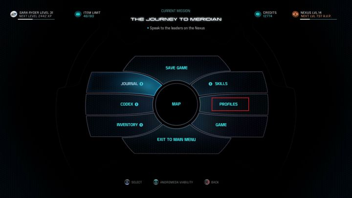 You can access the Profiles screen from the pause menu. - General information | Character profiles - Character profiles - Mass Effect: Andromeda Game Guide