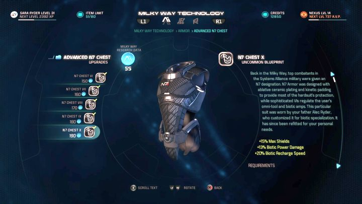 N7 armor, something that many Mass Effect fans look at with nostalgia. - Acquiring and developing blueprints | Equipment - Equipment - Mass Effect: Andromeda Game Guide
