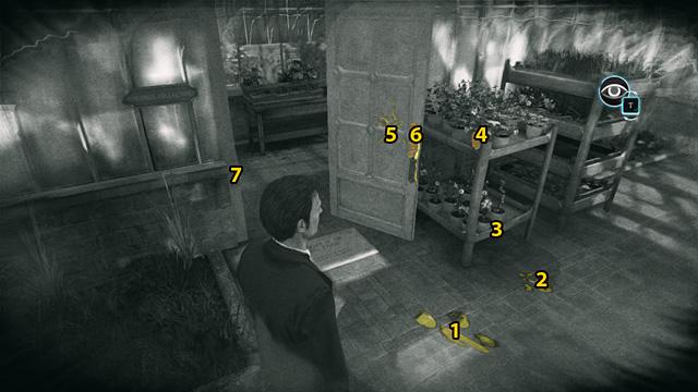 1 - следы, 2 - разбитый горшок, 3 - грязь, 4 - разбитый горшок, 5 - поврежденная панель, 6 - ручка, 7 - разбитый эсконсон.  - Исследуйте место, где Монтегю Данн встретил свою смерть - Драма Кью Гарденс - Шерлок Холмс: Преступления и наказания - Руководство по игре и прохождение
