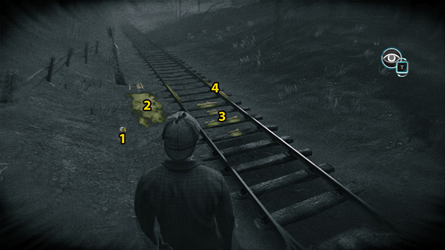 1 - Empty bottle, 2 - Ground near the rails, 3 - Sleepers, 4 - Rails. - Inspect the scene and find more information about the vanished train - Riddle On The Rails - Sherlock Holmes: Crimes and Punishments - Game Guide and Walkthrough