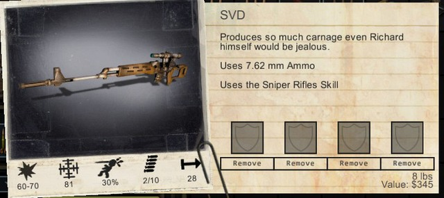 A weapon with its statistics and slots for modifications. - Armors and covers | Combat - Combat - Wasteland 2 Game Guide & Walkthrough