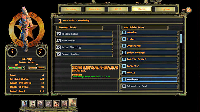 Perks are a collection of bonuses for a character or for the entire party, which you buy in the course of gaining experience - Perks | Character development - Character development - Wasteland 2 Game Guide & Walkthrough