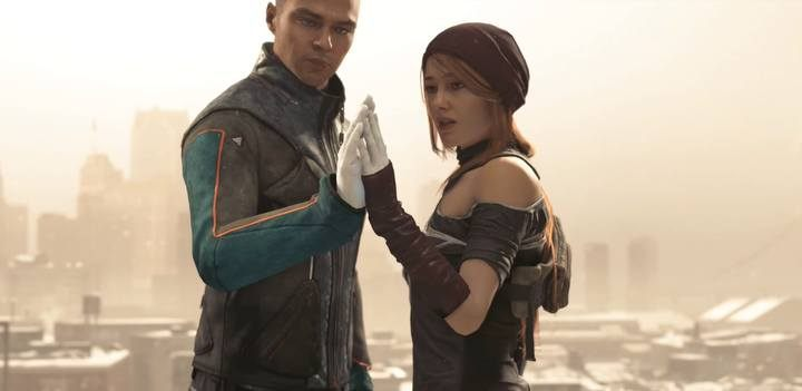 Scene on the roof of a destroyed building in front of the March. - How to get Marcus and North into a romance in Detroit Become Human? - FAQ - Detroit Become Human Guide