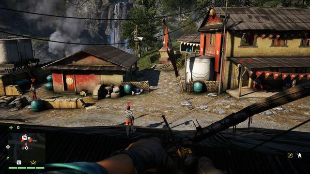 By destroying the beehive located on the building on the right, you will kill the nearby enemies. - Royal Raksi Brewery - Outposts - One alarm - Far Cry 4 - Game Guide and Walkthrough