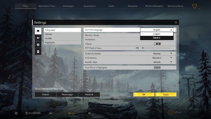Find Current Language at the top of the screen - How to change Ring of Elysium language? - FAQ - Ring of Elysium Guide and Tips