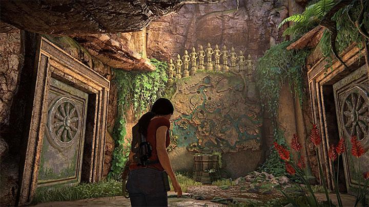 After you enter the ruins, look at the large stone map shown in the above screenshot, with eleven statues over it - Yas Queen Trophy | Trophy Guide - Trophy Guide - Uncharted: The Lost Legacy Game Guide