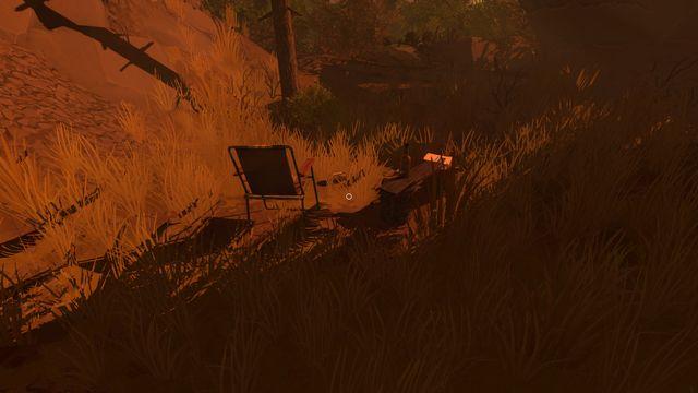 После того, как вы очистите путь, вы можете пройти на небольшую поляну, которая хорошо спрятана за кустами - Заметки - Коллекционирование - Firewatch - Руководство по игре и прохождение