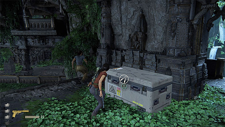 You can find a supply crate while in the first ruins occupied by the enemy mercenaries - 7. The Lost Legacy | All Secrets - Secrets - Uncharted: The Lost Legacy Game Guide