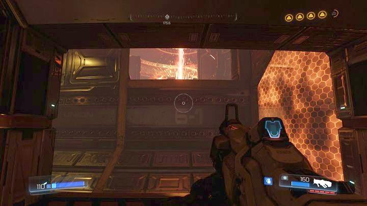 Добравшись до места с контейнерами почти на вершине башни, подождите, пока путь освободится, а затем прыгните к выходу на другой стороне туннеля - Argent Energy Tower |  Секреты - Секреты - Руководство по игре в Doom и прохождение
