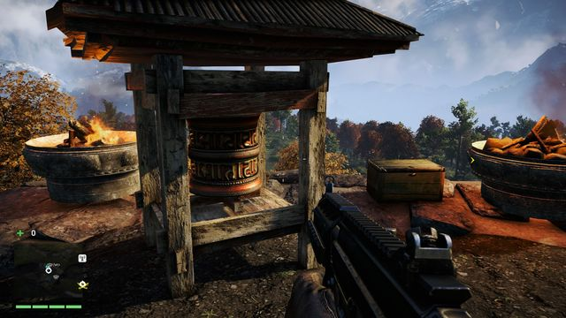 The wheel is located near a large statue - Southern and central Kyrat - Mani Wheels - Far Cry 4 - Game Guide and Walkthrough