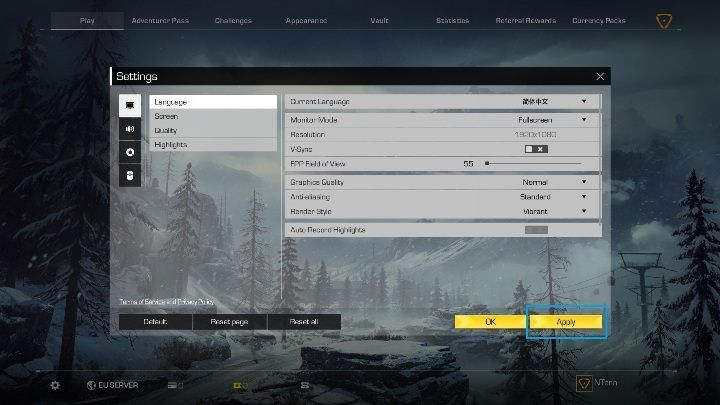 Click on Apply to confirm your choice - How to change Ring of Elysium language? - FAQ - Ring of Elysium Guide and Tips