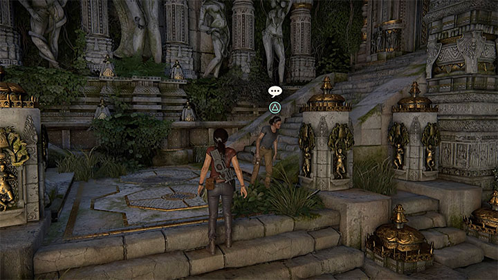 You can have an optional conversation with Nadine in the same location as you have taken the second photo (the area you visit right before you enter the library) - 7. The Lost Legacy | All Secrets - Secrets - Uncharted: The Lost Legacy Game Guide