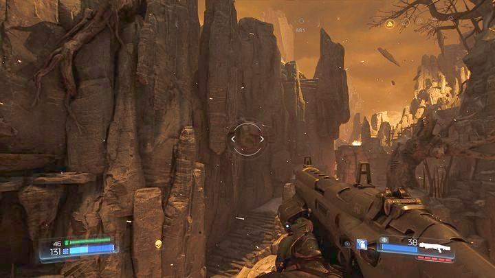 Чтобы добраться до него, нужно прыгнуть по тропинке внизу, а затем осмотреть левую стену - Kadingir Sanctum |  Секреты - Секреты - Руководство по игре в Doom и прохождение
