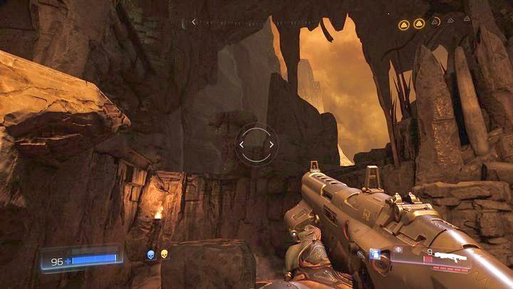 Встаньте на скалу с прикрепленными цепями после первого телепорта и убейте всех врагов - Kadingir Sanctum |  Секреты - Секреты - Руководство по игре в Doom и прохождение