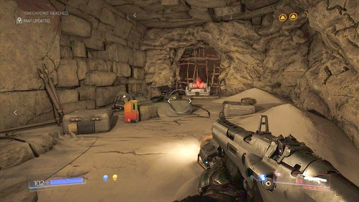 Пройдя через дверь, которая требует голубого черепа, вы должны повернуть направо - Kadingir Sanctum |  Секреты - Секреты - Руководство по игре в Doom и прохождение