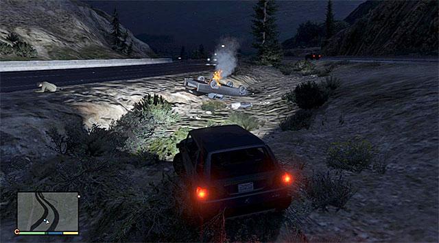 The blazing wreckage - Crash rescue - Random events - Grand Theft Auto V Game Guide