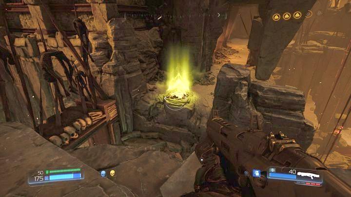 Как только вы соберете второй предмет коллекционирования, идите на вершину лестницы, а затем направо - Kadingir Sanctum |  Секреты - Секреты - Руководство по игре в Doom и прохождение