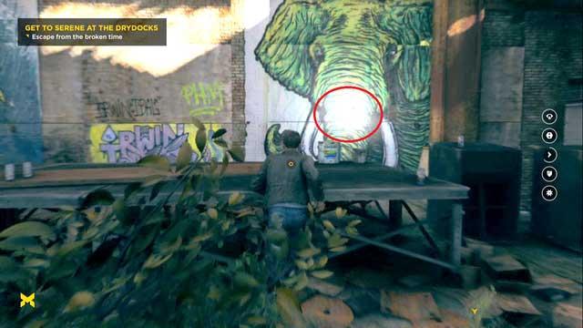 Источник расположен перед граффити слона.  - Хрононовые источники (акт II) - Секреты - Квантовый прорыв - Руководство по игре и прохождение игры