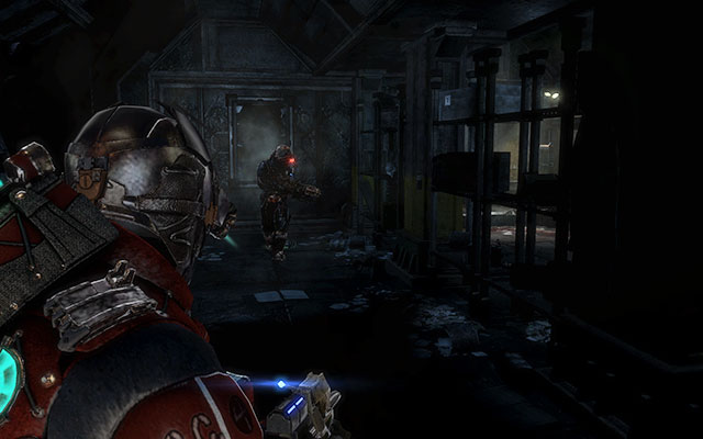 After plundering this place, go to the next door which will lead you to the corridor with few displays - Investigate the warehouses secrets | Co-op missions: Archeology - Co-op missions: Archeology - Dead Space 3 Game Guide