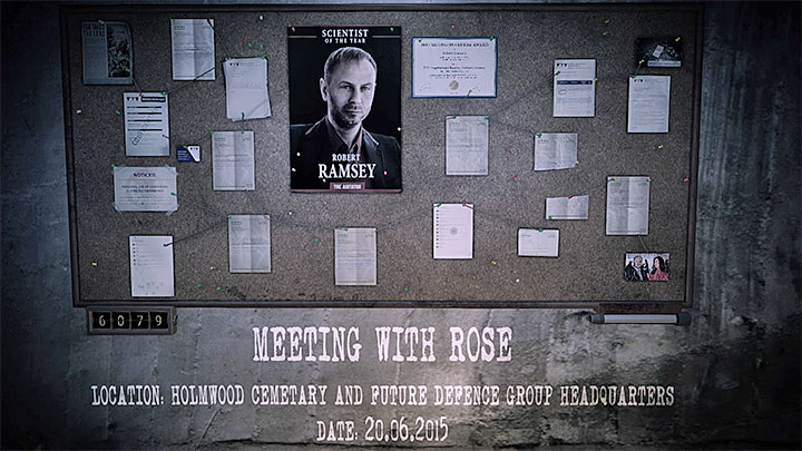 The evidence board for Meeting with Rose memory is presented in the picture above - Meeting with Rose | Hidden memories - Hidden memories - Get Even Game Guide
