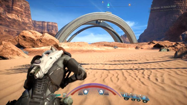 And heres the place where you have to make your jump. - How to unlock the Long Distance Jump trophy in Mass Effect: Andromeda? - Achievements / Trophies - Mass Effect: Andromeda Game Guide