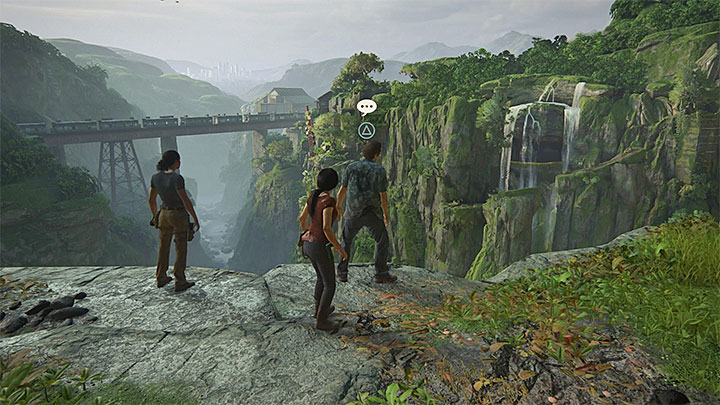 You can have this conversation right after this chapter starts and after you reach the viewpoint that overlooks the railway bridge - 8 - Partners | Secrets - Secrets - Uncharted: The Lost Legacy Game Guide