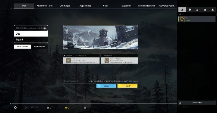 Select the Duo option to play with another teammate - Can you play in two-person teams in Ring of Elysium? - FAQ - Ring of Elysium Guide and Tips