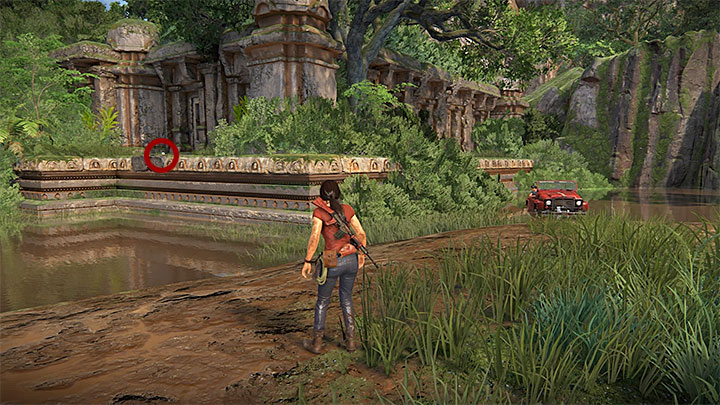 This treasure is in the small ruins that you have to reach from the Eastern direction (i - 4 - Treasures in Wester Ghats | Secrets - Secrets - Uncharted: The Lost Legacy Game Guide