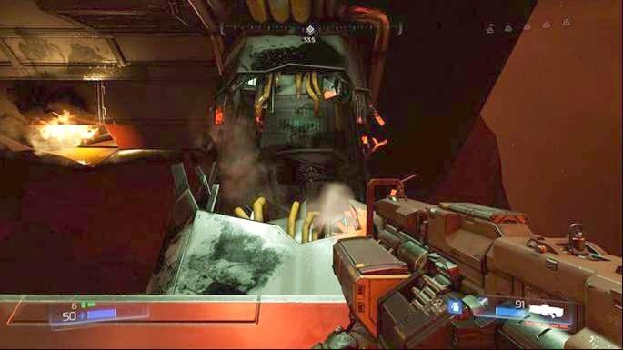 Поднимитесь выше после взятия предмета коллекционирования - Destroyed Argent Facility |  Секреты - Секреты - Руководство по игре в Doom и прохождение