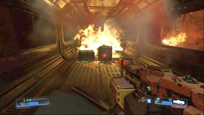 Пройдя дальше, вы увидите разрушенный коридор внизу - Уничтоженный Серебряный Объект |  Секреты - Секреты - Руководство по игре в Doom и прохождение