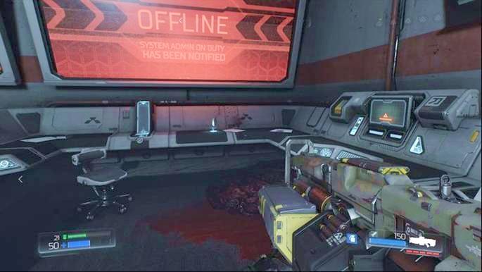 Чуть дальше от Elite Guard будет комната с журналом данных, лежащим в углу, и компьютером, который вы можете использовать - Destroyed Argent Facility |  Секреты - Секреты - Руководство по игре в Doom и прохождение