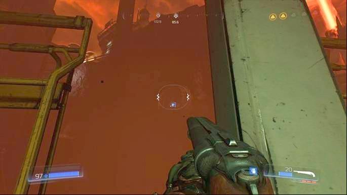 После завершения первого испытания руны развернитесь и придерживайтесь левого края скалы - Уничтоженный объект Арджент |  Секреты - Секреты - Руководство по игре в Doom и прохождение