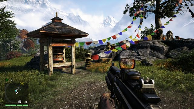 You will find the wheel at the end of the path, near a tree growing among some rocks - Southern and central Kyrat - Mani Wheels - Far Cry 4 - Game Guide and Walkthrough