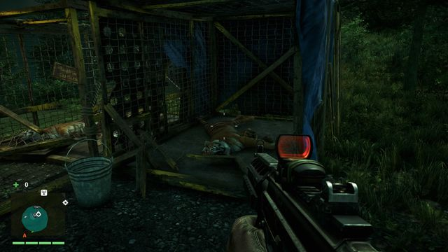 The mask is located inside a cage with a dead tiger - Southern and central Kyrat - Yalungas Masks - Far Cry 4 - Game Guide and Walkthrough