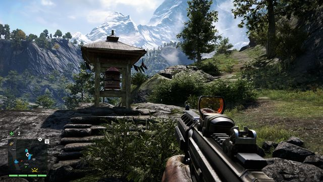 Having the rocks on your right, you can see the wheel on the left, right near the path - Southern and central Kyrat - Mani Wheels - Far Cry 4 - Game Guide and Walkthrough