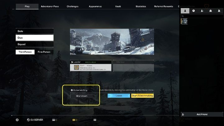 If you want to play with random players, the game gives you the option to create a team - simply click on Share team button - Can you play in two-person teams in Ring of Elysium? - FAQ - Ring of Elysium Guide and Tips
