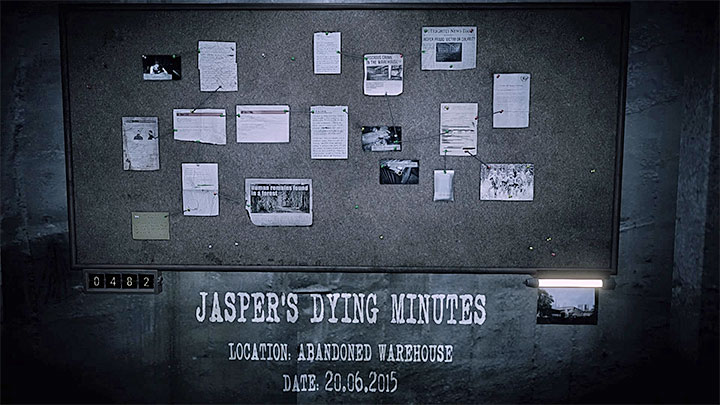 The evidence board for Jaspers Dying Minutes memory is presented in the picture above - Jaspers Dying Minutes | Hidden memories - Hidden memories - Get Even Game Guide