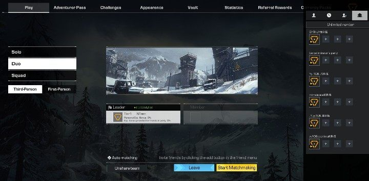 Select your team and prepare yourself to play with other players - Can you play in two-person teams in Ring of Elysium? - FAQ - Ring of Elysium Guide and Tips