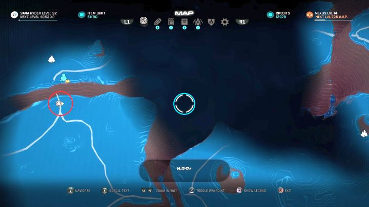 The red circle shows the starting location, whereas the blue shows the place you have to travel towards. - How to unlock the Hang Time trophy in Mass Effect: Andromeda? - Achievements / Trophies - Mass Effect: Andromeda Game Guide
