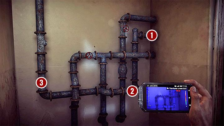 Mozesz juz zaczac badac okolice i po drodze warto odnajdywac wszystkie te interaktywne slady, które wymienione zostaly w wariancie A (obiekty do zebrania lub zeskanowania) - How to solve the water flow puzzle in the Asylum (Black)? - Solving the puzzles - Get Even Game Guide