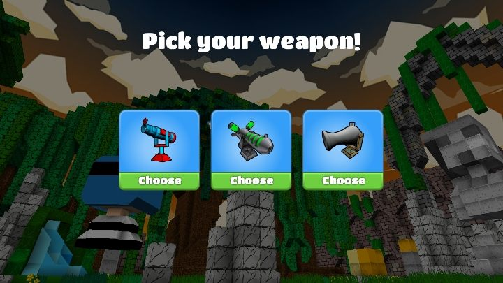 The first thing you should take into account before starting a battle is to choose the appropriate weapon - Step 4 - Weapons and combat (battle mode) in BlockStarPlanet - 10 steps to start - BlockStarPlanet Guide