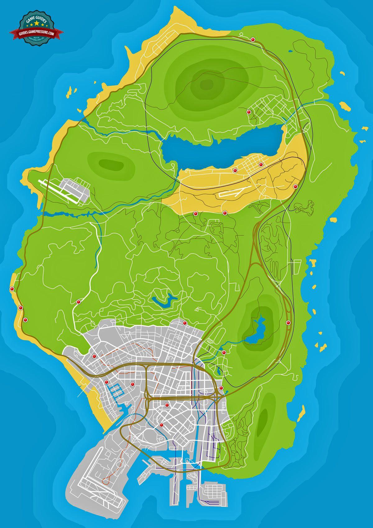 GTA V Map - Shops to rob