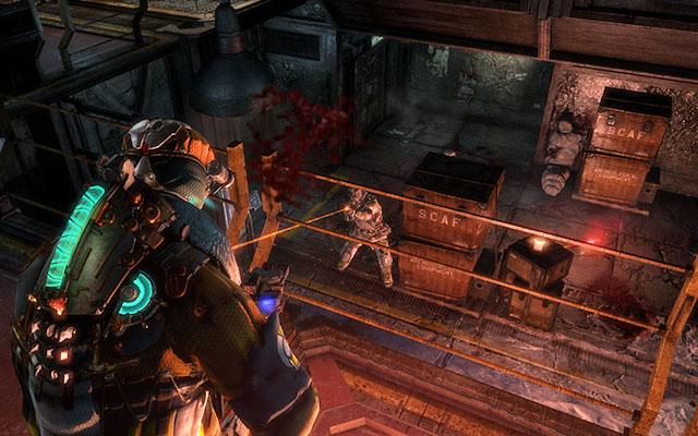 В следующей комнате единственная возможность - воспользоваться лифтом - войти в него и спуститься вниз - Защитить оружейные боеприпасы |  Побочные миссии: Оружейная - Побочные миссии: Оружейная - Dead Space 3 Руководство по игре
