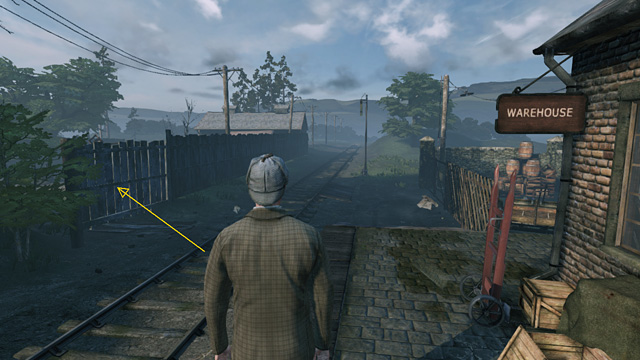 Выйдите из здания и идите направо по рельсам - Осмотрите боковую железнодорожную ветку в Ившеме - Загадка на рельсах - Шерлок Холмс: Преступления и наказания - Руководство по игре и прохождение игры