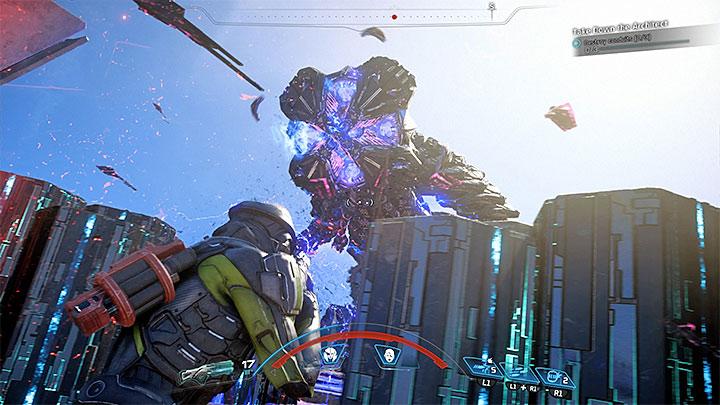Используйте укрытия с осторожностью, потому что они не защитят вас от некоторых атак босса. Как победить Eos Remnant Architect?  |  Босс борется |  Прохождение - Битвы с боссами - Mass Effect: Руководство по игре Andromeda