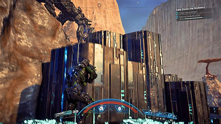 Выбирайте большие укрытия, но имейте в виду, что их можно внезапно уничтожить. Как победить Остатка-архитектора на Кадаре?     Босс борется    Прохождение - Битвы с боссами - Mass Effect: Руководство по игре Andromeda