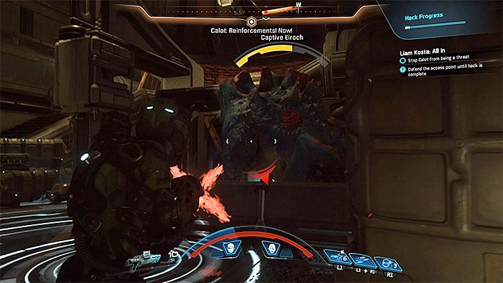 Остерегайтесь атак Эйрока - Как победить Калота на космическом корабле Кетта?  |  Босс борется |  Прохождение - Битвы с боссами - Mass Effect: Руководство по игре Andromeda